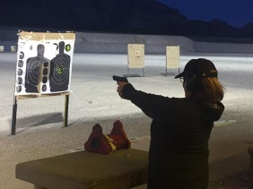 At the shooting range in Las Vegas